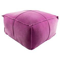 Surya Cotton Velvet Pouf Bright Purple - CVPF005-242413