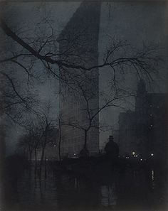 Edward Steichen - The Flatiron (1904) (Pictorialism) Relates to Truth as reality is being altered by the photographer using a soft focus