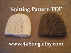 For tj! @Linda Andrews Cable Front Chunky Newborn Baby Beanie Hat Knitting by 4aSong, $4.00