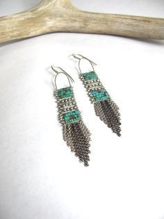 Turquoise and Silver Fringe Earrings by demimondejewelry
