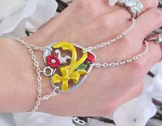 Slave Bracelet Ring Yellow Bow Heart by TheMysticalOasisGlow, $25.00