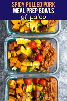 Pulled pork meal prep bowls are gluten-free, paleo, and perfect for lunches. With summery flavors, spicy Instant Pot pulled pork, roasted sweet potatoes, corn and fresh tomatoes! Best Meal Prep, Sunday Meal Prep, Healthy Meal Prep, Healthy Eating, Meal Prep Containers, Meal Prep Bowls, End Of The Week, Sweet Potato Chili, Pulled Pork Recipes
