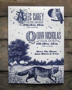 Night Fox & Owl Custom Design Letterpress Birth Announcements. $5.00, via Etsy.