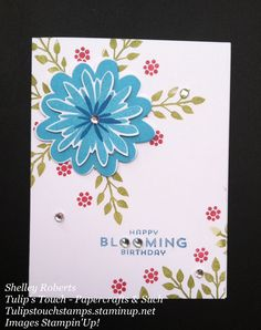 CASE from A La Card.   Stamp set is Flower Patch.  Die cut with Flower Fair framelits.