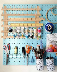 This looks like my sewing room. I just have to paint to peg board! Sewing Room Organization, Craft Room Storage, Craft Rooms, Jewelry Organization, Organizing Ideas, Storage Ideas, My Sewing Room, Sewing Rooms, New Crafts
