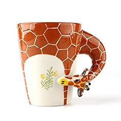 Homee 3-D Hand-Painted Ceramic Mugs Novelty Cups/Mugs for Coffee/Milk, Ideal Choice for Gift Giving (Giraffe)  http://amzn.to/2kTaJyQ