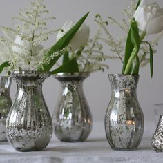 The Wedding of My Dreams - Dainty Mercury Silver Glass Vases