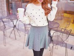 See more about heart sweater, winter fashion and winter outfits. Cute Asian Fashion, Korean Fashion Winter, Korean Fashion Trends, Japanese Fashion, Autumn Winter Fashion, Love Fashion, Trendy Fashion, Korean Winter, Winter Wear