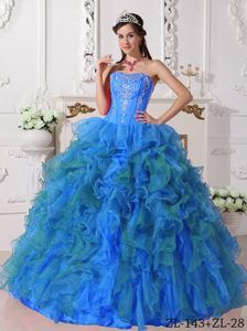 Nice Blue Sweetheart Quinceanera Gown in Satin and Organza with Embroidery