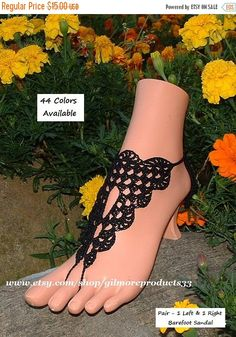 Barefoot Sandals: https://www.etsy.com/shop/gilmoreproducts33  Crochet Lace Barefoot Sandals  - You will receive 2 pieces (1 Left and 1 Right) Barefoot Sandal  - Shoe Size:... #crochet #victorian #anklet