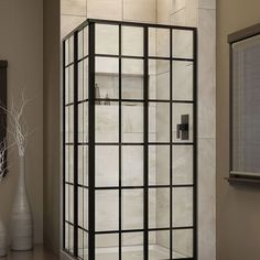 "DreamLine SHEN-8134340-89 French Corner 34-1/2"" W x 34-1/2"" D x 72"" H Sliding Shower Enclosure in Satin Black"