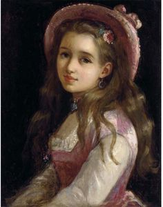 Sophie Gengembre Anderson Portrait of a young girl, halflength in a pink dress and hat Oil on canvas, unknown Private collection Sophie Anderson, Amber Tree, Web Gallery, Pre Raphaelite, Portraits, Victorian Art, Old Master, Pink Dress, Oil On Canvas