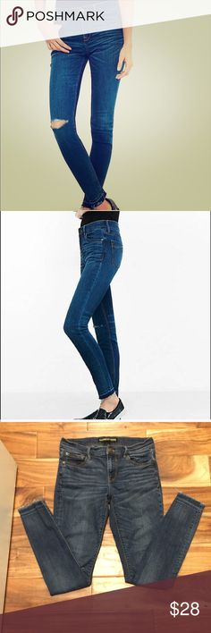 """Express performance stretch raw hem jean leggings A pair that puts you in a warm embrace with the destruction trend. This jean's second-skin fit, dimensional fading and hits of heavy wear make it a just-right punctuation for the rocker-hot look of a graphic tee and buckled shoes. 32 inch inseam, mid rise jean legging, 10"""" leg opening One button closure, zip fly, distressed hardware Five pocket styling Dark wash with destruction, fading, 3D whiskering Stretch: Just enough stretch for all-day…"""