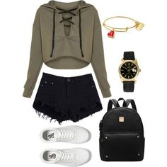 Freshman year by wanderlustpan on Polyvore featuring polyvore, fashion, style, Vans, Rolex and clothing