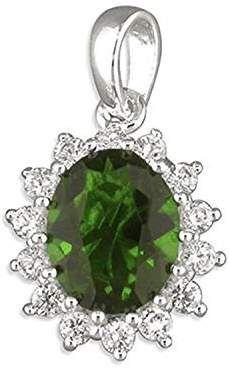 Superbe &diamant Vert émeraude grappe en zircone cubique ovale pendentif-en argent Sterling 925 Design de Kate Middleton et de la Princesse Diana Pendentif Style élégance Vintage - Avec chaîne 45,7 cm