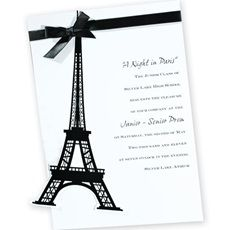 Make your Paris prom invitation really stand out with a ribbon or cutout image.