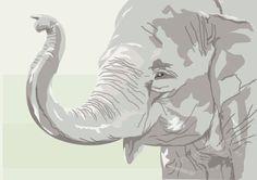 Wild Animal African Elephant Illustration Art Print 4x6 Mounted Critter Pawtraits