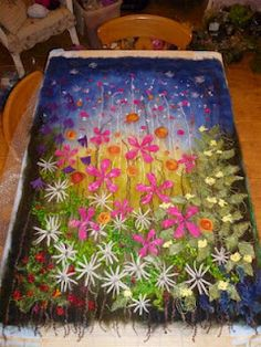 Felt 'Magical Meadow' wall hanging ready to be wet felted. MarmaladeRose