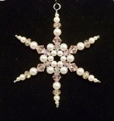 Snowflake Ornament - Pale Pink Pearl - Christmas Ornament - Beaded Ornament - Holiday Decoration - Winter Suncatcher