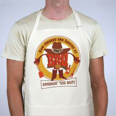 Smokin Em Out Personalized BBQ Aprons. When grilling, everyone can sit back and relax especially while your special someone is wearing our Smokin Em Out Personalized BBQ Apron. Whether grilling steak, ribs, chicken or hamburgers you know its going to be great when cooking with our Custom Grilling Apron. Our Personalized Apron is a white full length, 65/35 cotton/poly twill fabric apron with adjustable neck and matching fabric ties. Machine washable. This custom bib apron measures 28""