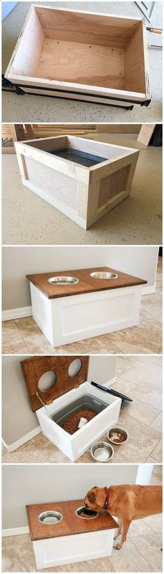 Teds Wood Working - DIY Dog Food Station with Storage: DIY Dog Food Station with Storage underneath! Here is a free plan for you. - Get A Lifetime Of Project Ideas Inspiration! #dogfoodstation #dogdiyprojects