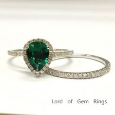 $589 Pear Emerald Engagement Ring Sets Pave Diamond Wedding 14K White Gold 6x8mm