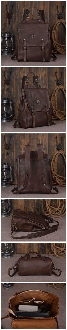 "Leather Backpack Laptop Backpack Laptop Bags 9081 Model Number: 9081 Dimensions: 15.3""L x 5.5""W x 13""H / 39cm(L) x 14cm(W) x 33cm(H) Weight: 3.5lb / 1.6kg Hardware: Brass Hardware Color: Dark Brown /"
