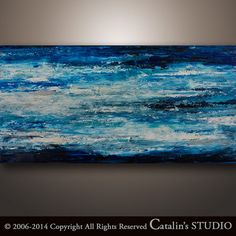 48x24 Abstract Painting Original Painting Palette Knife by Catalin, $229.00