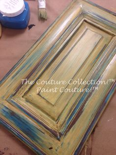 2 color wet distressing using Lake Norman Signature Blue & Spanish Sunrise Paint Couture!(TM) #paintedfurniture #thecouturecollection
