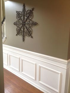 Create this look using our products! It's easy and customizable! http://www.decorgroupinc.com/store/categories/Custom-Wood-Mouldings/ Painted Wainscoting, Wainscoting Bedroom, Stairway Wainscoting, Wainscoting Kitchen, Picture Frame Wainscoting, Black Wainscoting, Wainscoting Ideas, Waynes Coating, Entryway Lighting