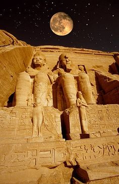 Abu SimbelThe moon over the great temple of Ramesses II at Abu...