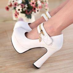 US$ 69 Fashion Women Girl Super High Spike Heels Pumps Platform Zipper Punk Noble Shoes