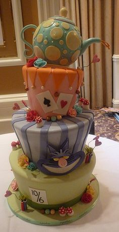 mad hatter tea party cakes Custom cakes can be ordered with 1 week