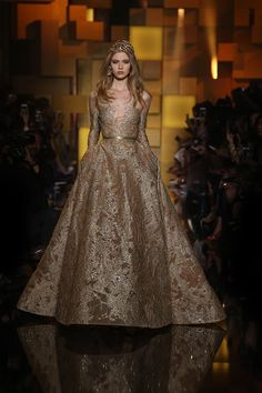Antique Gold | ELIE SAAB Haute Couture Autumn Winter fashion show.