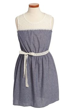 Zunie High/Low Lace Chambray Dress (Big Girls) available at #Nordstrom