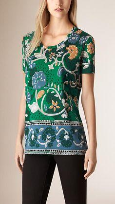 Verde azulado Camiseta de algodão com patchwork de estampa floral - Imagem 1
