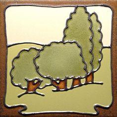"""Duquella Tile. Craftsman style Landscape. 6"""" square. Price $48.00 Craftsman Tile, Modern Craftsman, Clay Crafts, Arts And Crafts, Fireplace Trim, Art Nouveau Tiles, Clay Tiles, Style Tile, Tile Art"""