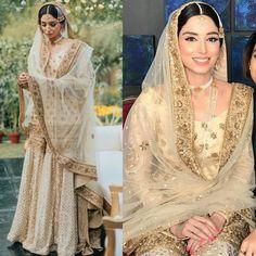 Nikkah Mubarak - Sports Journalist Zainab Abbas At her Nikkah Asian Bridal Dresses, Asian Wedding Dress, Pakistani Wedding Outfits, Pakistani Wedding Dresses, Pakistani Dress Design, Bridal Outfits, Nikkah Dress, Shadi Dresses, Dress Indian Style
