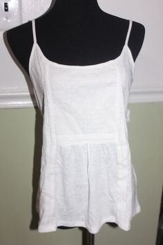 Old Navy Women's Relaxed White Lace Callally Cami  Size L Linen Blend   | eBay