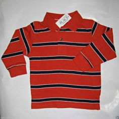 The Children's Place Toddler Boy's Long Sleeve Striped Polo Orange / Navy -Sz 2T