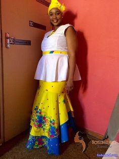 XiTsonga traditional dresses in South Africa - Fashion African Wedding Dress, African Print Dresses, African Dress, African Clothes, African Prints, Pedi Traditional Attire, Traditional Wedding Attire, Traditional Outfits, Tsonga Traditional Dresses