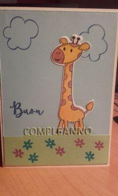 Card per un compleanno con queste belle giraffine di www.lacoppiacreativa.com