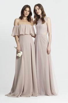 Monique Lhuillier Spring 2017 Bridesmaids- Style # 450384 rose & 450375 shell