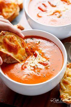 Creamy Roasted Tomato Basil Soup | https://cafedelites.com