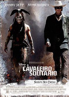 """O CAVALEIRO SOLITÁRIO (2013)  """"Tonto (Johnny Depp), o espírito guerreiro nativo americano narra as histórias não contadas que transformaram John Reid (Armie Hammer), um homem da lei, em uma lenda da justiça. Reid é um homem-da-lei deixado para morrer, após uma emboscada ao lado de cinco patrulheiros do Texas. Encontrado e tratado pelo índio Tonto, ele passa a usar a máscara do Cavaleiro Solitário para vingar o assassinato de seus companheiros e aplicar a justiça nas terras sem lei."""""""