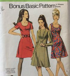 Simplicity 8884 vintage 1970's misses dress sewing pattern