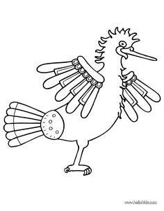 Prehispanic Heron Coloring Page Nice Bird Drawing More Orignal Content On Hellokids