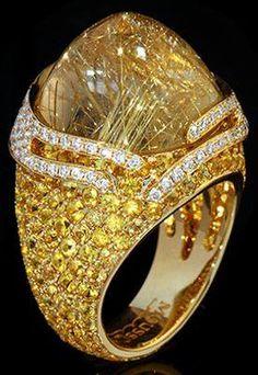 "Mousson Atelier New Age quot Fuji quot Gold Rutile Quartz amp Sapphire Ring Mousson Atelier New Age ""Fuji"" Gold 750 Rutile Quartz and Sapphire Ring featuring Rutile Quartz Yellow Sapphire and Diamond; Gems Jewelry, Fine Jewelry, Unique Jewelry, Jewellery Bracelets, Irish Jewelry, Gemstone Jewelry, Silver Jewelry, Wiccan Jewelry, Medieval Jewelry"