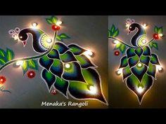 simple peacock rangoli designs for diwali Rangoli Designs Peacock, Easy Rangoli Designs Diwali, Rangoli Designs Latest, Simple Rangoli Designs Images, Free Hand Rangoli Design, Small Rangoli Design, Colorful Rangoli Designs, Rangoli Ideas, Diwali Rangoli