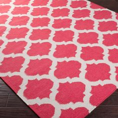 Ironwork Trellis Dhurrie Rug - Salmon and Ivory